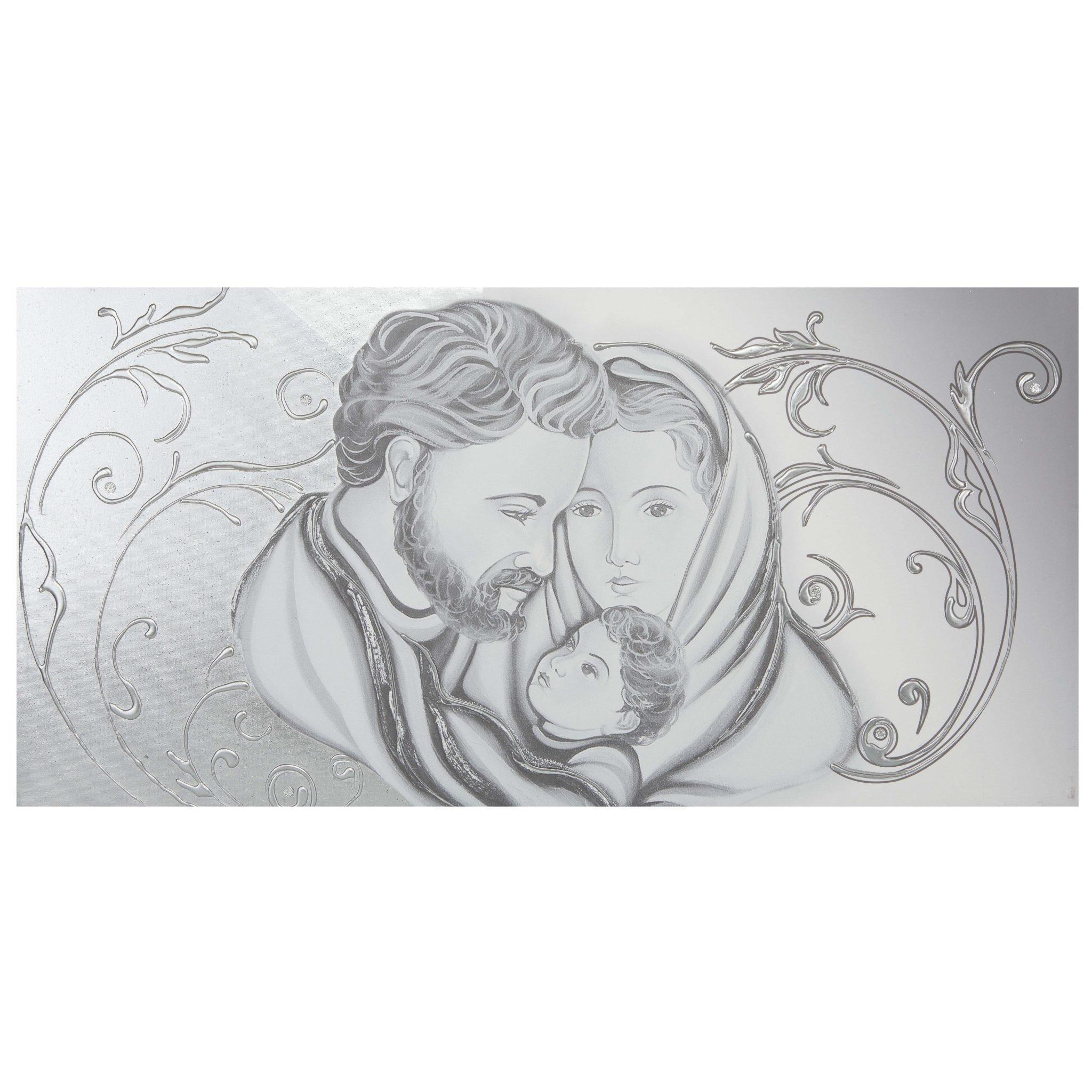 ... Capezzale per camera da letto classica Sacra Famiglia floreale argento