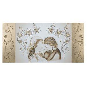 Capezzale quadro su tela sacra famiglia fasce laterali oro for Sacra famiglia quadri moderni