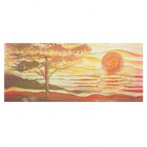 quadro albero sole rosso