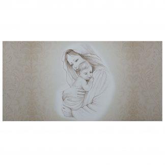 quadro capezzale maternità damascata oro