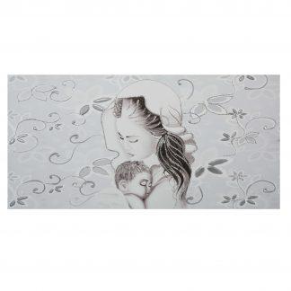 capezzale camera da letto su tela maternità fiori argento