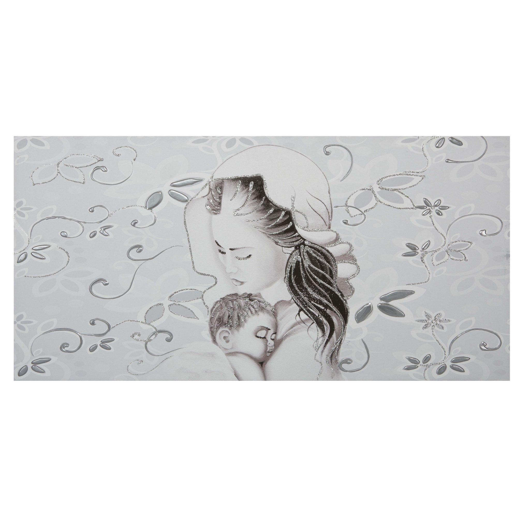 Capezzale camera da letto su tela maternit fiori argento - Fiori in camera da letto ...