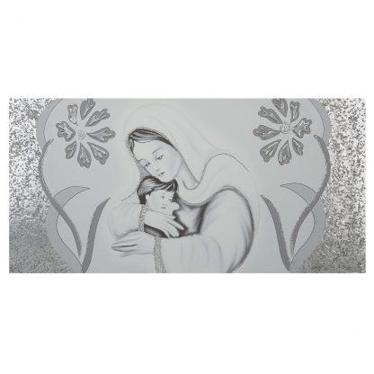 Quadro-capezzale camera da letto Maternità fiori argento