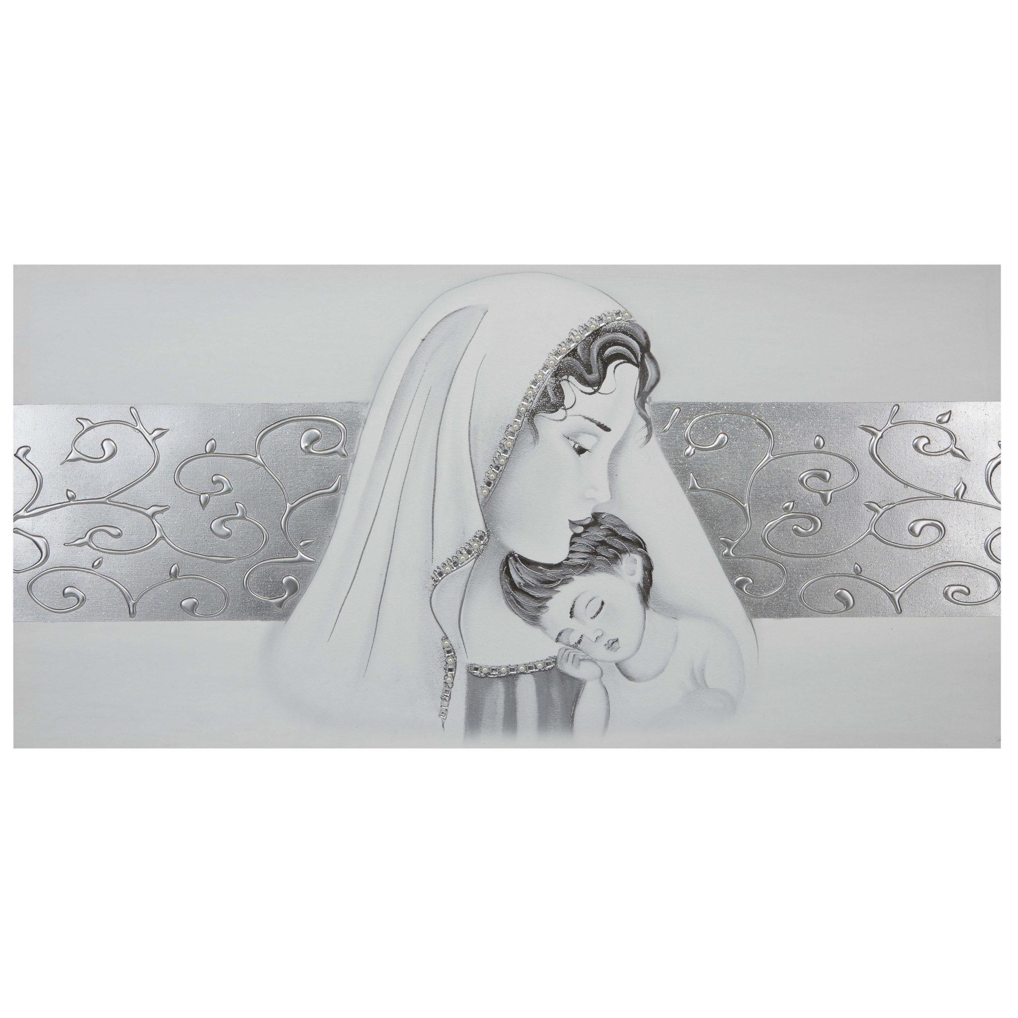 Quadro capezzale camera da letto Maternità con fascia centrale argento