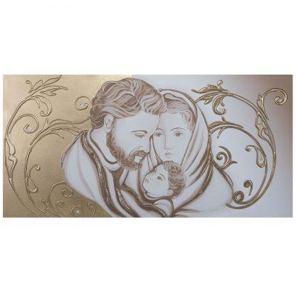 Capezzale-quadro per camera da letto Sacra Famiglia floreale oro