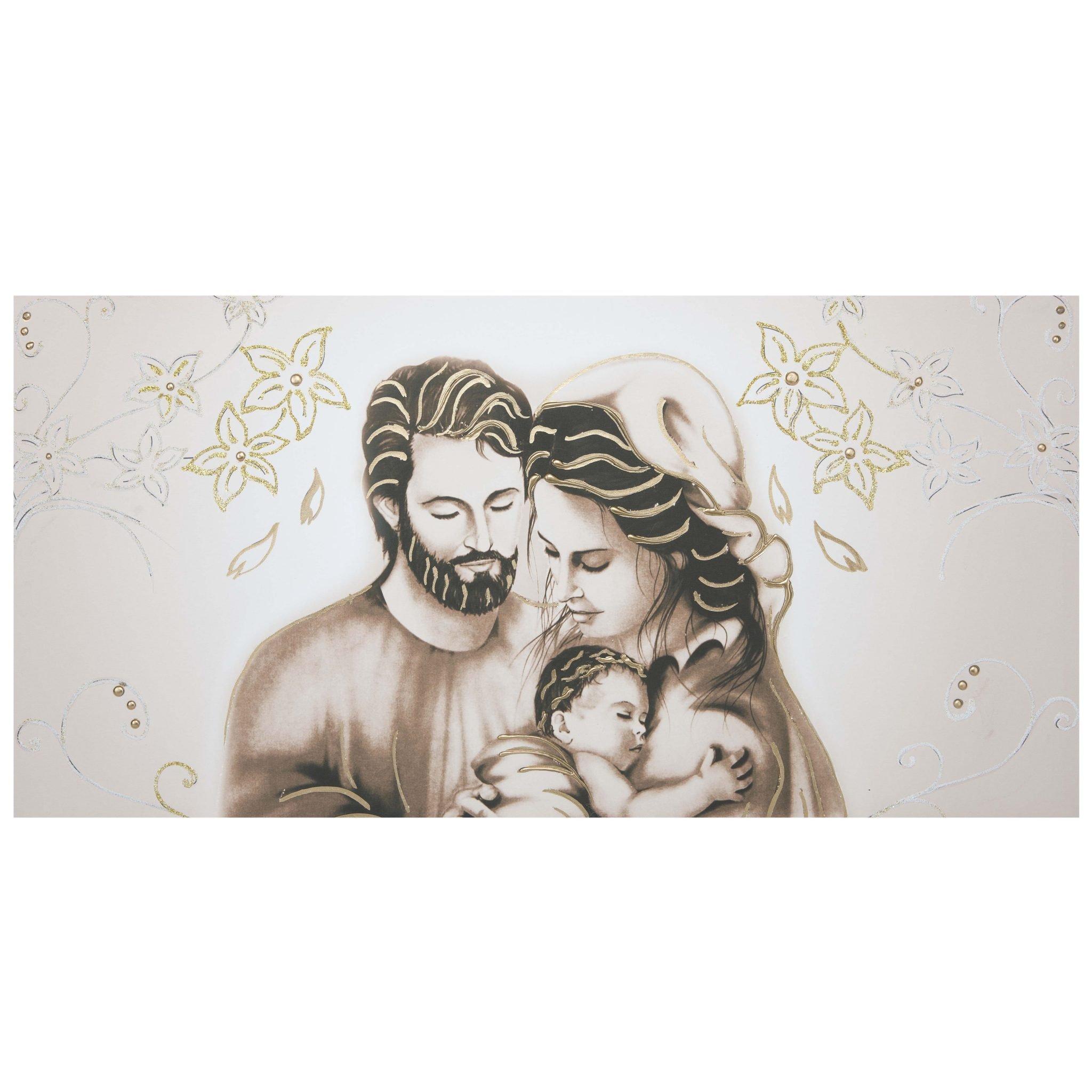 Quadro capezzale tela d 39 arredo sacra famiglia foglie oro for Quadri sacra famiglia moderni prezzi