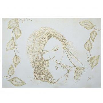 quadro capezzali su tela maternità oro