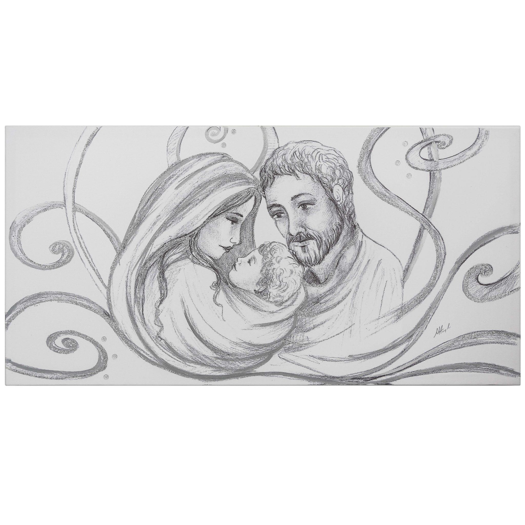 Capezzale classico sacra famiglia carboncino argento - Quadri sacri per camera da letto ...