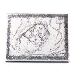 quadretto stondato sacra famiglia carboncino argento