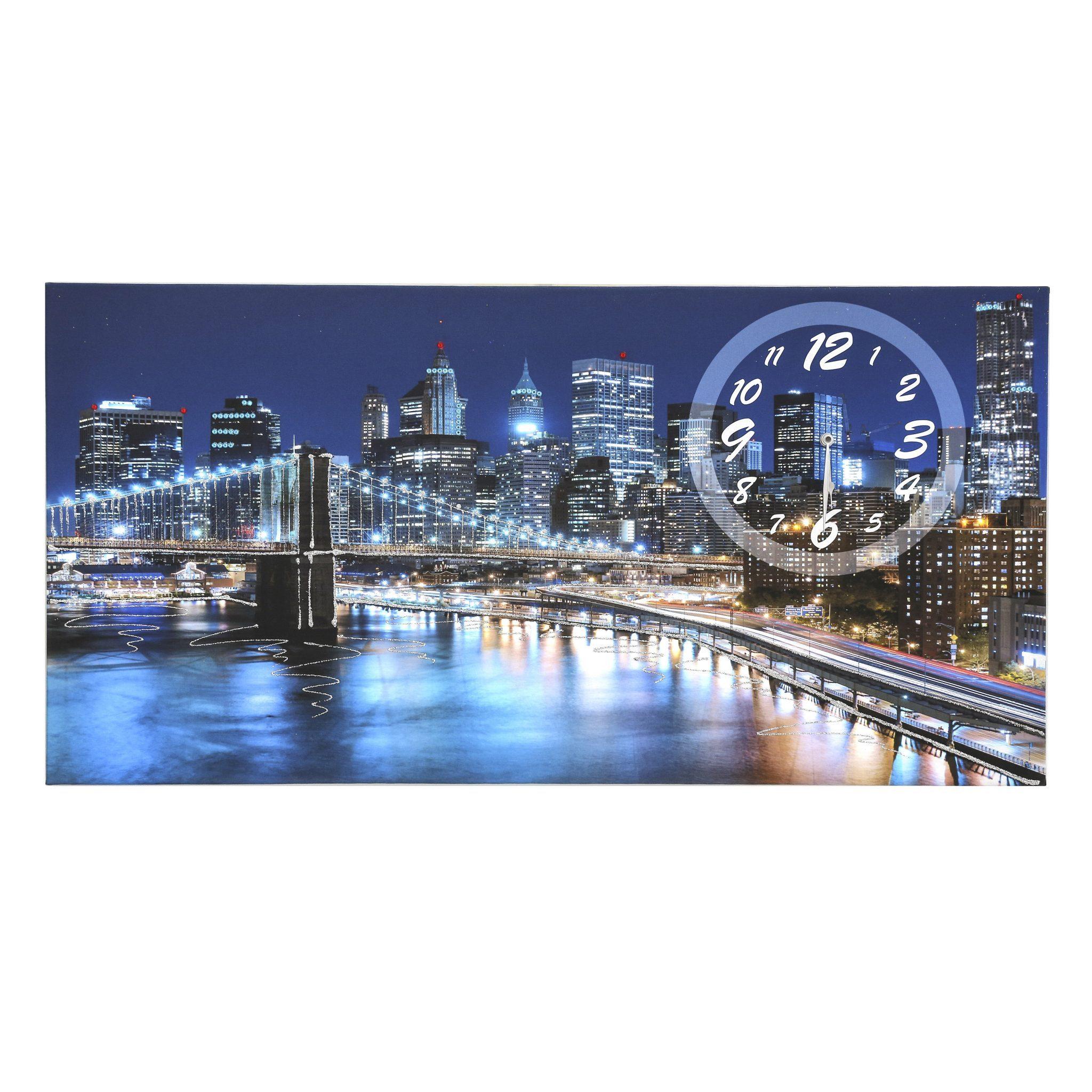 Quadro su tela Ponte Brooklyn con orologio