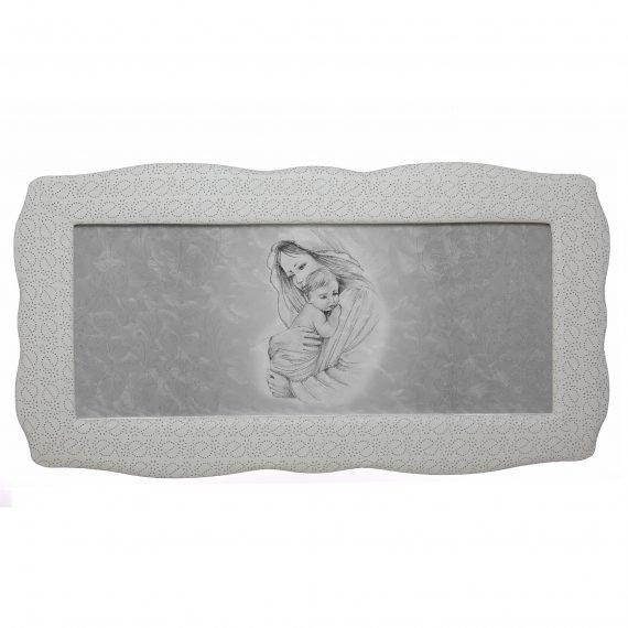 Quadro capezzale Maternità damascata argento con Cornice Londra