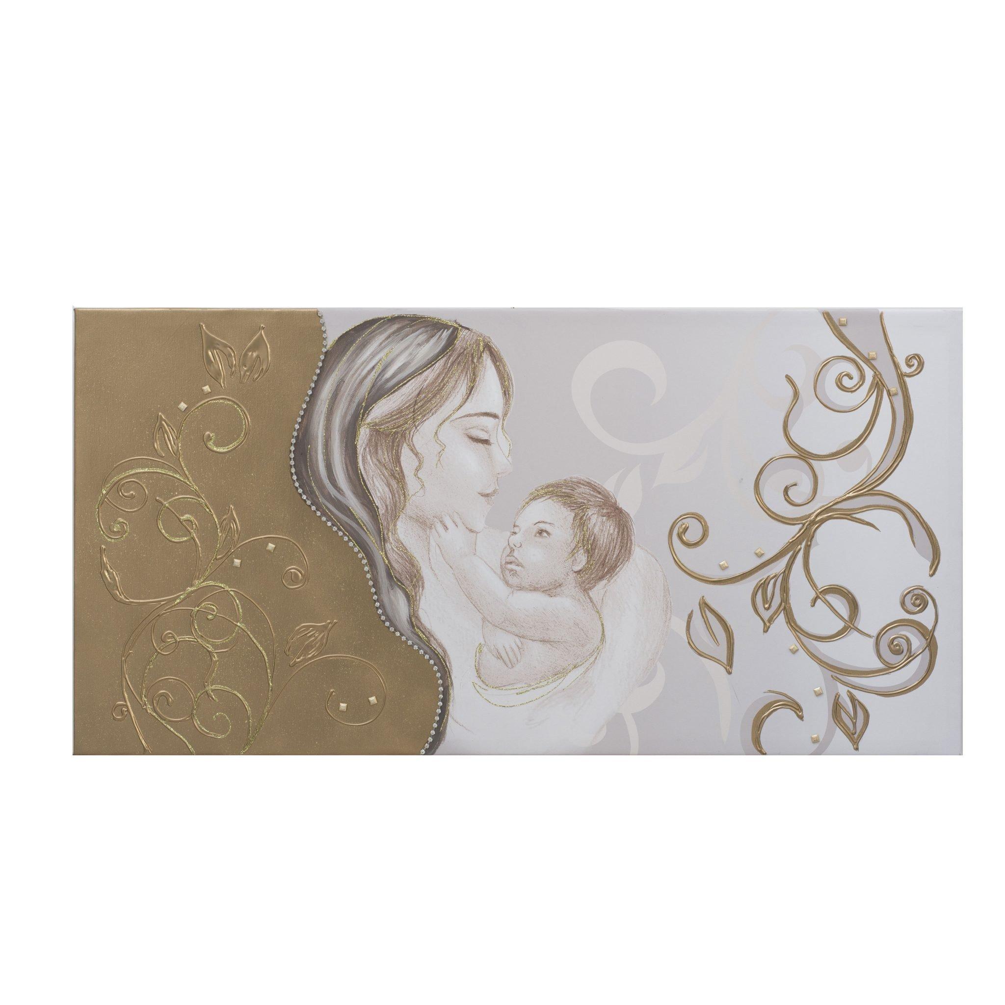 Quadro capezzale Sacra Maternità con fiori laterali oro