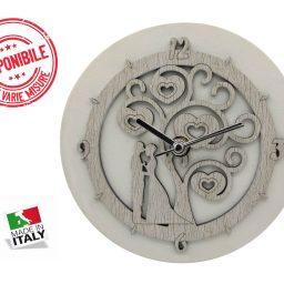Orologio da Tavolo Ecopelle Bianca Sposi
