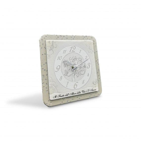 Bomboniera Orologio Quadrato Albero Dedica
