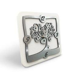 Orologio da Tavolo Lamina Argento Tema Albero Cuore